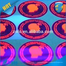 Etiqueta adesiva adesiva adesiva adesiva adesiva de alta qualidade com tinta uv invisível