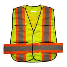 Неон сетки карман на липучке высокая видимость безопасности Светоотражающий жилет (YKY2851)