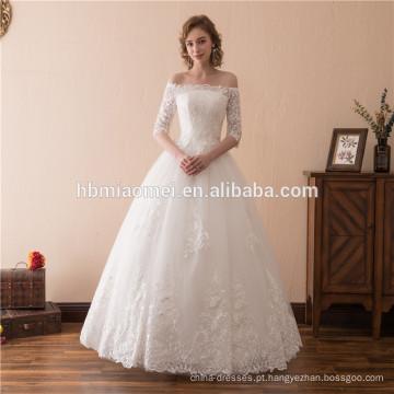 2018 venda quente cor branca oferta de ombro até o chão vestido de noiva vestido de noiva 2018 com meia mangas design