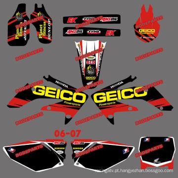 Adesivos de motos e adesivos de motos e motocross para Honda Crf250r Crf250 motocicleta 2006 2007 (DST0157)