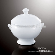 good quality chinese white porcelain soup bowl with stand