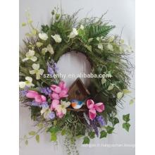 Décoration extérieure de Pâques Couronne artificielle de fleurs de lys de Pâques
