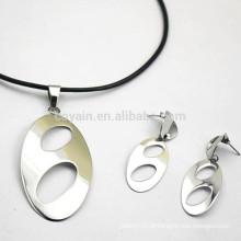 Importação prata em branco metal pingente oval com buracos