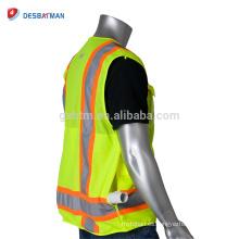 Chaqueta de seguridad ANSI / ISEA 100% poliéster transpirable de alta visibilidad chaleco Ropa de trabajo duradera de seguridad con dos tiras reflectantes de tono