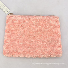 Fashion Style Student School Pencil Case Women Brushes Cosmetic Bag Rose Flower Flat Makeup Bags