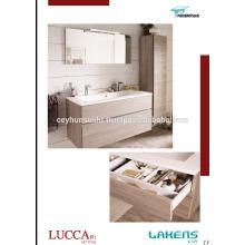 Vanité de salle de bain auto-manette de conception nouvelle 2017 avec armoire de couleur et de grande armoire