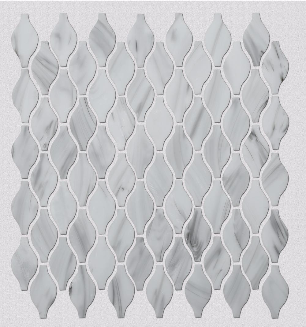 White irregular pattern glass mosaic tiles