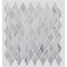 White Patterned Glass Mosaic Tiles For Shower Room