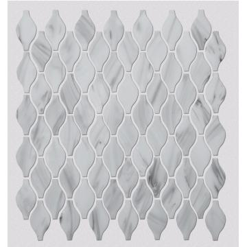 White Patterned Glass Mosaic Tiles For Shower Room