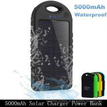 Carregador de bateria portátil impermeável duplo do banco das energias solares do USB 5000mAh