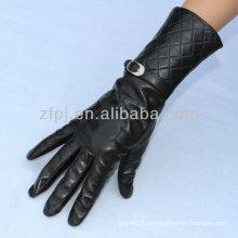 Schwarze Farbe Schaffell Fashion Damen Leder Handschuh