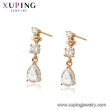 96947 xuping 18K couleur d'or plaqué femmes simulation boucles d'oreilles en cristal