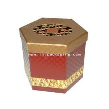 Hexagon Shape Papel Caixa de embalagem de cosméticos