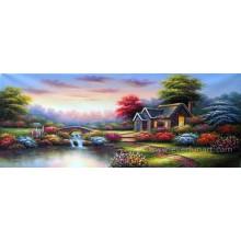 Jardim pintura a óleo bonita paisagem China Home Decor Atacado (ERL-066)