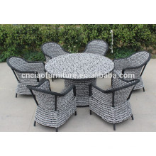 F- Foshan outdoor modern garden furniture rattan dining table sets (CF741+CF1274T+CF1244C)