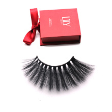 DL011 Hitomi magnetic lash box imported korea synthetic fiber silk lashes Wholesale Korean Silk Eyelash 25mm silk eyelashes