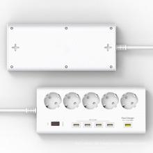EU Plug 5 Ports Outlet Surge Protector Power Stirp mit 4 X 5V / 2.4A 1 X 12V USB Super Ladegerät