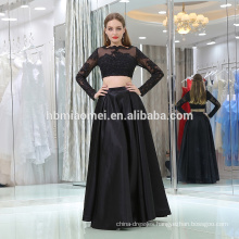 Lace Appliqued Formal Party Gown 2017 Floor-Length high neck black Long sleeve party evening dress 2pcs sets