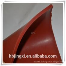 Hoja blanca transparente de alta temperatura del silicón del color rojo