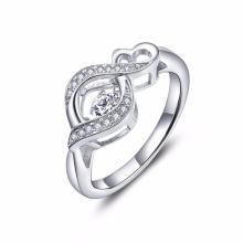 Infinity Heart Dancing Diamond Rings Jewelry 925 Silver Ring