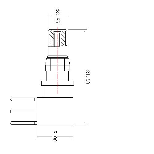 CP11M-11X 11 POWER PIN RIGHT ANGLE MALE CONTACT 75Ω(work in coaxial)