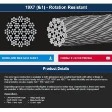 Cable de acero no giratorio para uso offshore / alzamiento / grúa 19 * 7
