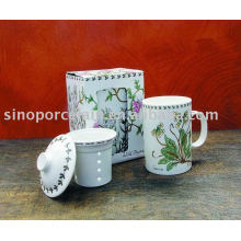 Taza de té de porcelana 11 oz con filtro y tapa para BS09158