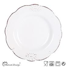 Diseño en relieve de la placa de ensalada de cerámica de los 19.5cm