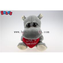 Valentinsgruß-Tagesgeschenk-Spielzeug-große Augen gefüllte graue Flusspferd-Tier-Spielwaren mit rotem Herz-Kissen Bos1175