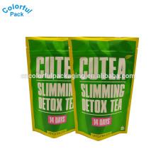 O costume imprimiu o empacotamento verde do saco de chá da desintoxicação do emagrecimento dos sacos de plástico resealable