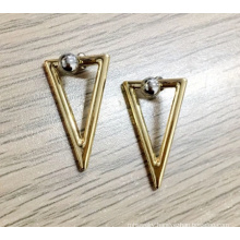Simple Triangle Drop and Round Top Back Side Earring
