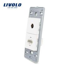 Livolo США HDMI и ТВ розетка без белого жемчуга хрустальное стекло розетка 220 В VL-C5-1VHD-11