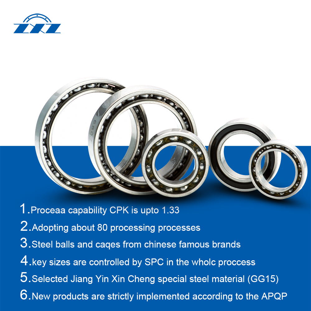Sealed or opened DGBB steering bearings Type