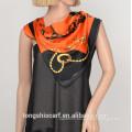 Women's fashion new printing polyester satin triangle scarf shawl