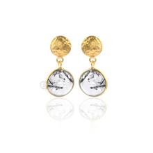 925 pendientes de plata de ley, negro rutilo joyas de oro de piedras para las mujeres