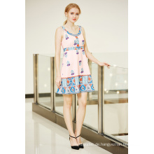 Hohe Taille Border Printing Swing Dress