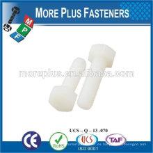 Hecho en Taiwán Alta calidad de color blanco tornillo de plástico Hex cabeza pernos