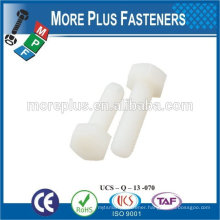 Made in Taiwan High Quality Supplier White Color Plastic Hex Head Bolts
