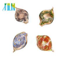 MC0029 Gold Dust Leaf Necklace Handmade Lampwork Glass Foil Pendants 12pcs/box