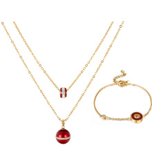 S-291 Xuping fashion indian gold jewelry simple bead design bracelet+necklace two pieces gold plated jewelry set for women