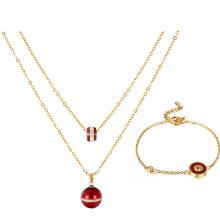S-291 Xuping moda jóias de ouro indiano simples projeto do grânulo pulseira + colar de duas peças banhado a ouro conjunto de jóias para as mulheres