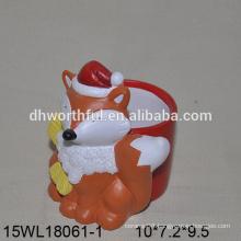 Lovely orange fox shaped ceramic flower pot