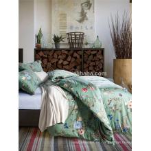Alta calidad de lujo de algodón de hoja de cama fluorescente y funda de edredón reversible