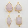 Ensemble de lunette en Vermeil fait à la main Connecteurs en pierre gemme de calcédoine rose