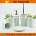 Light blue color gift accessories ceramic bath set with relief