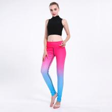 Gradient Color High Waist Polyester Sport Pants Leggings for Yoga 0241