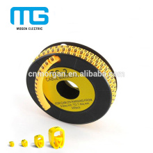 Colorido tubo de aislamiento de cable de manga plana marcador de cable con alta tensión, diferentes marcadores estándar a su opción
