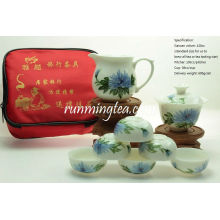Pintado a mano Crisantemo flor portátil de viaje conjunto de té