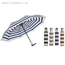 Folding Auto Open&Close Stripe Prints Rain Umbrellas