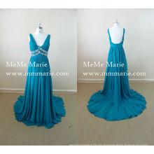 Eine Linie Partei Kleid Sexy V-Ausschnitt Bare Back Abendkleid mit Strass BYE-14025